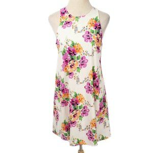 EVERLY Cream Floral Sleeveless Keyhole Shift Dress